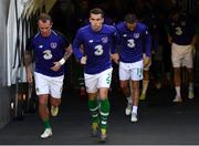 10 June 2019; Republic of Ireland captain Seamus Coleman, centre, leads his side out for the warm-up prior to the UEFA EURO2020 Qualifier Group D match between Republic of Ireland and Gibraltar at Aviva Stadium, Lansdowne Road in Dublin. Photo by Stephen McCarthy/Sportsfile