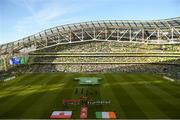 10 June 2019; Both teams stand for the national anthems prior to the UEFA EURO2020 Qualifier Group D match between Republic of Ireland and Gibraltar at Aviva Stadium, Lansdowne Road in Dublin. Photo by Eóin Noonan/Sportsfile