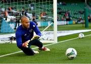 10 June 2019; Darren Randolph of Republic of Ireland warms-up prior to the UEFA EURO2020 Qualifier Group D match between Republic of Ireland and Gibraltar at the Aviva Stadium, Lansdowne Road in Dublin. Photo by Seb Daly/Sportsfile