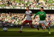 10 June 2019; Scott Hogan of Republic of Ireland in action against Roy Chipolina of Gibraltar to the UEFA EURO2020 Qualifier Group D match between Republic of Ireland and Gibraltar at Aviva Stadium, Lansdowne Road in Dublin. Photo by Stephen McCarthy/Sportsfile
