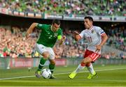 10 June 2019; Seamus Coleman of Republic of Ireland in action against Alain Pons of Gibraltar during the UEFA EURO2020 Qualifier Group D match between Republic of Ireland and Gibraltar at the Aviva Stadium, Lansdowne Road in Dublin. Photo by Seb Daly/Sportsfile