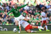 10 June 2019; Conor Hourihane of Republic of Ireland is fouled by Jayce Olivero of Gibraltar during the UEFA EURO2020 Qualifier Group D match between Republic of Ireland and Gibraltar at the Aviva Stadium, Lansdowne Road in Dublin. Photo by Stephen McCarthy/Sportsfile