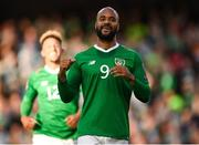 10 June 2019; David McGoldrick of Republic of Ireland celebrates after his shot was deflected in by Joseph Chipolina of Gibraltar to score his side's first goal during the UEFA EURO2020 Qualifier Group D match between Republic of Ireland and Gibraltar at the Aviva Stadium, Lansdowne Road in Dublin. Photo by Stephen McCarthy/Sportsfile