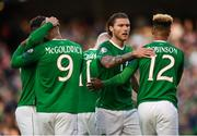 10 June 2019; David McGoldrick, 9, of Republic of Ireland celebrates with team-mates, including Jeff Hendrick and Callum Robinson after his shot was deflected in by Joseph Chipolina of Gibraltar to score his side's first goal during the UEFA EURO2020 Qualifier Group D match between Republic of Ireland and Gibraltar at the Aviva Stadium, Lansdowne Road in Dublin. Photo by Stephen McCarthy/Sportsfile