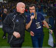 8 June 2019; Donegal manager Declan Bonner is interviewed by Gerard Tracey following the Ulster GAA Football Senior Championship semi-final match between Donegal and Tyrone at Kingspan Breffni Park in Cavan. Photo by Ramsey Cardy/Sportsfile