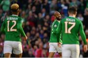 10 June 2019; David McGoldrick of Republic of Ireland celebrates after his shot was deflected in by Joseph Chipolina of Gibraltar to score his side's first goal during the UEFA EURO2020 Qualifier Group D match between Republic of Ireland and Gibraltar at the Aviva Stadium, Lansdowne Road in Dublin. Photo by Seb Daly/Sportsfile