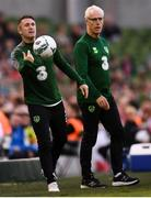 10 June 2019; Republic of Ireland assistant coach Robbie Keane, left, and manager Mick McCarthy during the UEFA EURO2020 Qualifier Group D match between Republic of Ireland and Gibraltar at Aviva Stadium, Lansdowne Road in Dublin. Photo by Stephen McCarthy/Sportsfile