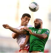 10 June 2019; David McGoldrick of Republic of Ireland in action against Alain Pons of Gibraltar during the UEFA EURO2020 Qualifier Group D match between Republic of Ireland and Gibraltar at Aviva Stadium, Lansdowne Road in Dublin. Photo by Stephen McCarthy/Sportsfile