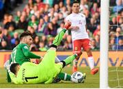 10 June 2019; Scott Hogan of Republic of Ireland has a chance on goal saved by Kyle Goldwin of Gibraltar during the UEFA EURO2020 Qualifier Group D match between Republic of Ireland and Gibraltar at Aviva Stadium, Lansdowne Road in Dublin. Photo by Stephen McCarthy/Sportsfile
