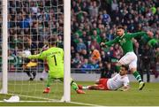 10 June 2019; Scott Hogan of Republic of Ireland sees his shot saved by Kyle Goldwin of Gibraltar during the UEFA EURO2020 Qualifier Group D match between Republic of Ireland and Gibraltar at the Aviva Stadium, Lansdowne Road in Dublin. Photo by Seb Daly/Sportsfile