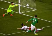 10 June 2019; Scott Hogan of Republic of Ireland has his shot on goal saved by Kyle Goldwin of Gibraltar during the UEFA EURO2020 Qualifier Group D match between Republic of Ireland and Gibraltar at Aviva Stadium, Lansdowne Road in Dublin. Photo by Eóin Noonan/Sportsfile
