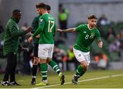10 June 2019; Scott Hogan, 17, of Republic of Ireland is substituted off for team-mate Sean Maguire during the UEFA EURO2020 Qualifier Group D match between Republic of Ireland and Gibraltar at Aviva Stadium, Lansdowne Road in Dublin. Photo by Stephen McCarthy/Sportsfile