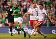 10 June 2019; David McGoldrick of Republic of Ireland has a shot on goal, which hits the post, during the UEFA EURO2020 Qualifier Group D match between Republic of Ireland and Gibraltar at Aviva Stadium, Lansdowne Road in Dublin. Photo by Stephen McCarthy/Sportsfile