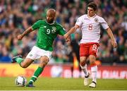 10 June 2019; David McGoldrick of Republic of Ireland in action against Anthony Bardon of Gibraltar during the UEFA EURO2020 Qualifier Group D match between Republic of Ireland and Gibraltar at Aviva Stadium, Lansdowne Road in Dublin. Photo by Stephen McCarthy/Sportsfile