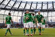 10 June 2019; Robbie Brady of Republic of Ireland celebrates after scoring his side's second goal with team-mates, including Richard Keogh, during the UEFA EURO2020 Qualifier Group D match between Republic of Ireland and Gibraltar at Aviva Stadium, Lansdowne Road in Dublin. Photo by Stephen McCarthy/Sportsfile