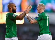 10 June 2019; James McClean of Republic of Ireland, right, is congratulated by team-mate David McGoldrick following his assist for side's second goal during the UEFA EURO2020 Qualifier Group D match between Republic of Ireland and Gibraltar at the Aviva Stadium, Lansdowne Road in Dublin. Photo by Seb Daly/Sportsfile