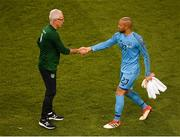 10 June 2019; Republic of Ireland manager Mick McCarthy shakes hands with Darren Randolph after the UEFA EURO2020 Qualifier Group D match between Republic of Ireland and Gibraltar at Aviva Stadium, Lansdowne Road in Dublin. Photo by Eóin Noonan/Sportsfile