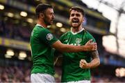 10 June 2019; Robbie Brady of Republic of Ireland celebrates after scoring his side's second goal, with team-mate Enda Stevens, during the UEFA EURO2020 Qualifier Group D match between Republic of Ireland and Gibraltar at Aviva Stadium, Lansdowne Road in Dublin. Photo by Stephen McCarthy/Sportsfile