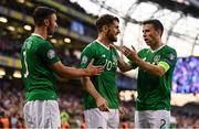 10 June 2019; Robbie Brady of Republic of Ireland celebrates after scoring his side's second goal, with team-mates Enda Stevens, left, and Seamus Coleman, during the UEFA EURO2020 Qualifier Group D match between Republic of Ireland and Gibraltar at Aviva Stadium, Lansdowne Road in Dublin. Photo by Stephen McCarthy/Sportsfile