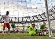 10 June 2019; Kyle Goldwin of Gibraltar in action against Scott Hogan of Republic of Ireland during the UEFA EURO2020 Qualifier Group D match between Republic of Ireland and Gibraltar at the Aviva Stadium, Lansdowne Road in Dublin. Photo by Seb Daly/Sportsfile