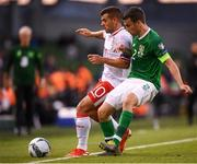 10 June 2019; Seamus Coleman of Republic of Ireland in action against Liam Walker of Gibraltar during the UEFA EURO2020 Qualifier Group D match between Republic of Ireland and Gibraltar at Aviva Stadium, Lansdowne Road in Dublin. Photo by Stephen McCarthy/Sportsfile