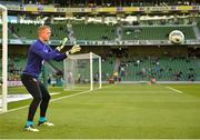 10 June 2019; James Talbot of Republic of Ireland warms-up prior to the UEFA EURO2020 Qualifier Group D match between Republic of Ireland and Gibraltar at the Aviva Stadium, Lansdowne Road in Dublin. Photo by Seb Daly/Sportsfile