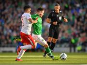 10 June 2019; Scott Hogan of Republic of Ireland in action against Joseph Chipolina of Gibraltar during the UEFA EURO2020 Qualifier Group D match between Republic of Ireland and Gibraltar at the Aviva Stadium, Lansdowne Road in Dublin. Photo by Seb Daly/Sportsfile
