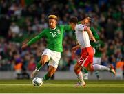 10 June 2019; Callum Robinson of Republic of Ireland in action against Jayce Olivero of Gibraltar during the UEFA EURO2020 Qualifier Group D match between Republic of Ireland and Gibraltar at the Aviva Stadium, Lansdowne Road in Dublin. Photo by Seb Daly/Sportsfile