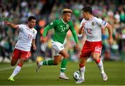 10 June 2019; Callum Robinson of Republic of Ireland in action against Alain Pons, left, and Jayce Olivero of Gibraltar during the UEFA EURO2020 Qualifier Group D match between Republic of Ireland and Gibraltar at the Aviva Stadium, Lansdowne Road in Dublin. Photo by Seb Daly/Sportsfile