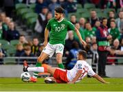 10 June 2019; Robbie Brady of Republic of Ireland in action against Ethan Britto of Gibraltar during the UEFA EURO2020 Qualifier Group D match between Republic of Ireland and Gibraltar at the Aviva Stadium, Lansdowne Road in Dublin. Photo by Seb Daly/Sportsfile