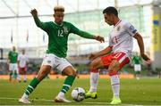 10 June 2019; Callum Robinson of Republic of Ireland in action against Alain Pons of Gibraltar during the UEFA EURO2020 Qualifier Group D match between Republic of Ireland and Gibraltar at the Aviva Stadium, Lansdowne Road in Dublin. Photo by Harry Murphy/Sportsfile