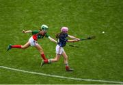11 June 2019; Ava O'Shea of St. Bridgets GNS, Glasnevin, Dublin in action against Liadh Ni Mhuirí of Gaelscoil Mológa, Crois Aralid, Dublin during the Allianz Cumann na mBunscol Finals 2019 Croke Park in Dublin. Photo by Eóin Noonan/Sportsfile