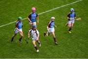 11 June 2019; Sadhbh Ní Chatháin of Gaelscoil na Camógie, Cluain Dolcáin, Dublin in action against players from Scoil Mhuire NS, Woodview, Dublin during the Allianz Cumann na mBunscol Finals 2019 Croke Park in Dublin. Photo by Eóin Noonan/Sportsfile