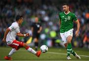 10 June 2019; Enda Stevens of Republic of Ireland in action against John Sergeant of Gibraltar during the UEFA EURO2020 Qualifier Group D match between Republic of Ireland and Gibraltar at the Aviva Stadium, Lansdowne Road in Dublin. Photo by Harry Murphy/Sportsfile