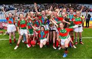 11 June 2019; Players from Gaelscoil Mológa, Crois Aralid, Dublin celebrate with the cup during the Allianz Cumann na mBunscol Finals 2019 Croke Park in Dublin. Photo by Eóin Noonan/Sportsfile