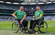 11 June 2019; GAA International Wheelchair representative team captain Pat Carty, right, and vice-captain James McCarthy in attendance at the announcement of the first ever GAA International Wheelchair representative team at Croke Park in Dublin. Photo by Sam Barnes/Sportsfile