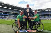 11 June 2019; Martin Donelly, Sponsor, centre, with GAA International Wheelchair representative team captain Pat Carty, right, and vice-captain James McCarthy in attendance at the announcement of the first ever GAA International Wheelchair representative team at Croke Park in Dublin. Photo by Sam Barnes/Sportsfile