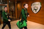 10 June 2019; Ronan Curtis and Republic of Ireland assistant coach Robbie Keane arrive prior to the UEFA EURO2020 Qualifier Group D match between Republic of Ireland and Gibraltar at Aviva Stadium, Lansdowne Road in Dublin. Photo by Stephen McCarthy/Sportsfile