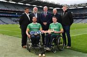 11 June 2019; In attendance at the announcement of the first ever GAA International Wheelchair representative team at Croke Park in Dublin is Uachtarán Chumann Lúthcleas Gael John Horan, centre, with from left, GAA International Wheelchair representative team manager Tony Watene, vice-captain James McCarthy, sponsor Martin Donnelly, captain James McCarthy, GAA for All Chairperson Brian Armitage, and head coach Paul Callaghan. Photo by Sam Barnes/Sportsfile