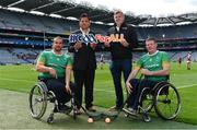 11 June 2019; In attendance at the announcement of the first ever GAA International Wheelchair representative team at Croke Park in Dublin are, from left, GAA International Wheelchair representative team vice-captain James McCarthy, manager Tony Watene, head coach Paul Callaghan, and captain James McCarthy. Photo by Sam Barnes/Sportsfile