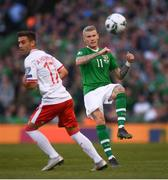 10 June 2019; James McClean of Republic of Ireland and Andrew Hernandez of Gibraltar during the UEFA EURO2020 Qualifier Group D match between Republic of Ireland and Gibraltar at Aviva Stadium, Lansdowne Road in Dublin. Photo by Stephen McCarthy/Sportsfile