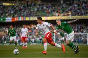 10 June 2019; John Sergeant of Gibraltar and James McClean of Republic of Ireland during the UEFA EURO2020 Qualifier Group D match between Republic of Ireland and Gibraltar at Aviva Stadium, Lansdowne Road in Dublin. Photo by Stephen McCarthy/Sportsfile