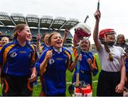 11 June 2019; Players from Our Ladys GNS, Ballinteer, Dublin celebrate after winning the Corn INTO final during the Allianz Cumann na mBunscol Finals 2019 Croke Park in Dublin. Photo by Eóin Noonan/Sportsfile