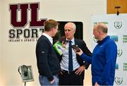 11 June 2019; Republic of Ireland manager Mick McCarthy is interviewed by Mike Aherne from Live 95fm and Colm Kinsella from the Limerick Leader at the FAI National Football Exhibition at UL Sports Arena, University of Limerick. Photo by Diarmuid Greene/Sportsfile