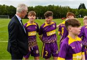 11 June 2019; Republic of Ireland manager Mick McCarthy with Wexford and District Schoolboys League players prior to their opening Kennedy Cup game at the FAI National Football Exhibition at UL Sports Arena, University of Limerick. Photo by Diarmuid Greene/Sportsfile