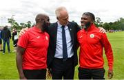 11 June 2019; Republic of Ireland manager Mick McCarthy with Edwin Andepu, left, and Prince Amechi from Cork Schoolboys League prior to their opening game of the SFAI Kennedy Cup at the FAI National Football Exhibition at UL Sports Arena, University of Limerick. Photo by Diarmuid Greene/Sportsfile