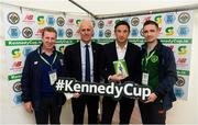 11 June 2019; John Earley Chairman of SFAI, Republic of Ireland manager Mick McCarthy, Noel Mooney, FAI General Manager for Football Services and Partnerships and Simon Walsh SFAI administrator, prior to the opening games of the Kennedy Cup at the FAI National Football Exhibition at UL Sports Arena, University of Limerick. Photo by Diarmuid Greene/Sportsfile