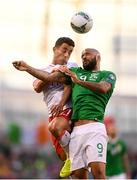 10 June 2019; Alain Pons of Gibraltar and David McGoldrick of Republic of Ireland during the UEFA EURO2020 Qualifier Group D match between Republic of Ireland and Gibraltar at Aviva Stadium, Lansdowne Road in Dublin. Photo by Stephen McCarthy/Sportsfile