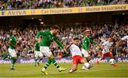 10 June 2019; Scott Hogan of Republic of Ireland has a shot on goal during the UEFA EURO2020 Qualifier Group D match between Republic of Ireland and Gibraltar at Aviva Stadium, Lansdowne Road in Dublin. Photo by Stephen McCarthy/Sportsfile