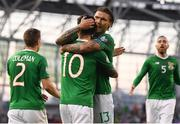 10 June 2019; Robbie Brady, 10, celebrates with his Republic of Ireland team-mate Jeff Hendrick after scoring his side's second goal during the UEFA EURO2020 Qualifier Group D match between Republic of Ireland and Gibraltar at Aviva Stadium, Lansdowne Road in Dublin. Photo by Stephen McCarthy/Sportsfile